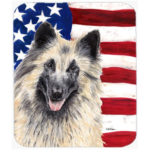 Carolines Treasures SC9116MP Usa American Flag With Belgian Tervuren Mouse Pad Hot Pad Or Trivet