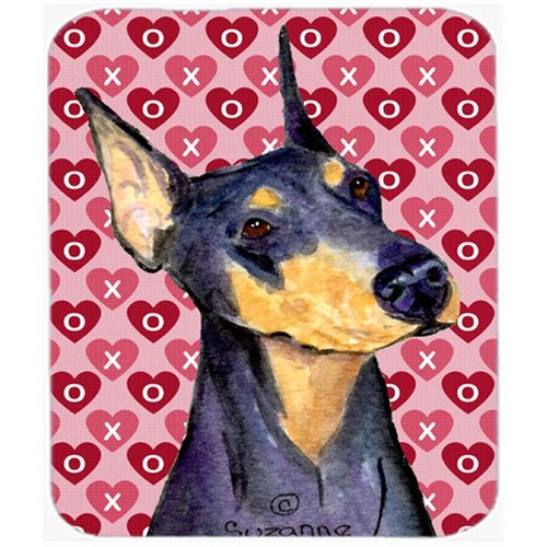 Carolines Treasures SS4495MP Doberman Hearts Love And Valentines Day Portrait Mouse Pad Hot Pad Or Trivet