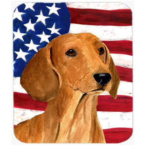 Carolines Treasures SS4049MP Usa American Flag With Dachshund Mouse Pad Hot Pad Or Trivet