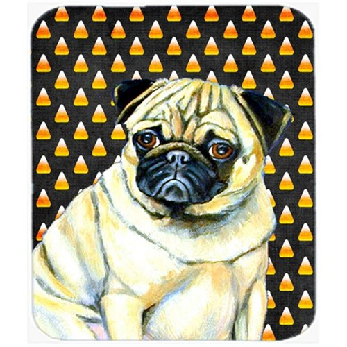 Carolines Treasures LH9083MP Pug Candy Corn Halloween Portrait Mouse Pad Hot Pad or Trivet