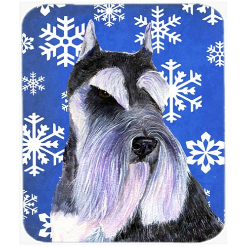 Carolines Treasures SS4615MP Schnauzer Winter Snowflakes Holiday Mouse Pad Hot Pad or Trivet