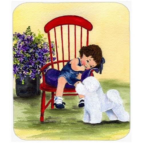Carolines Treasures SS8533MP Little Girl With Her Bichon Frise Mouse Pad Hot Pad or Trivet