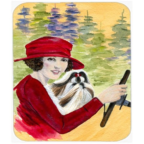 Carolines Treasures SS8539MP Lady Driving With Her Shih Tzu Mouse Pad Hot Pad or Trivet