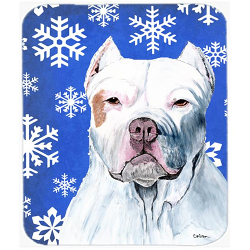 Carolines Treasures SC9381MP Pit Bull Winter Snowflakes Holiday Mouse Pad Hot Pad or Trivet