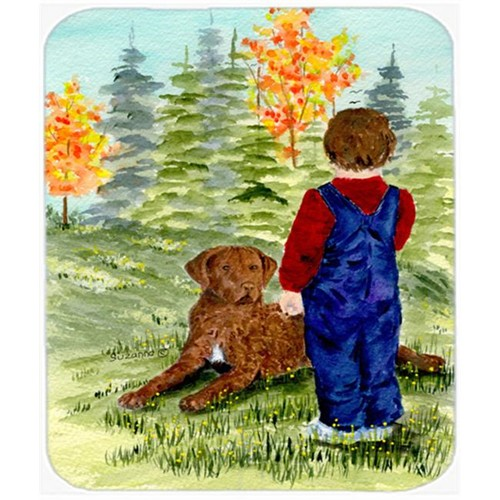 Carolines Treasures SS8547MP Little Boy With His Chesapeake Bay Retriever Mouse Pad Hot Pad Or Trivet