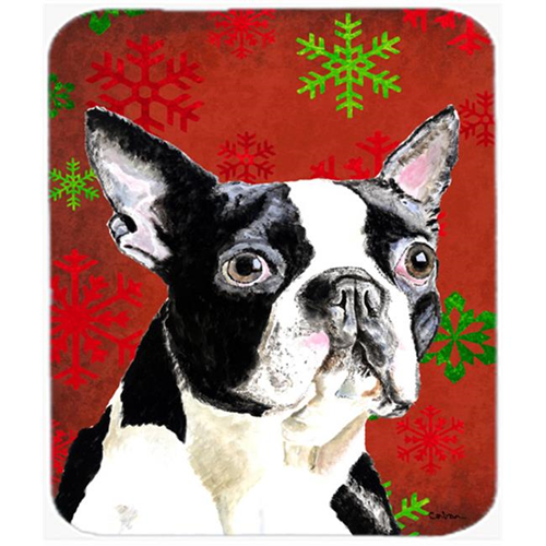 Carolines Treasures SC9400MP Boston Terrier Red And Green Snowflakes Christmas Mouse Pad Hot Pad Or Trivet