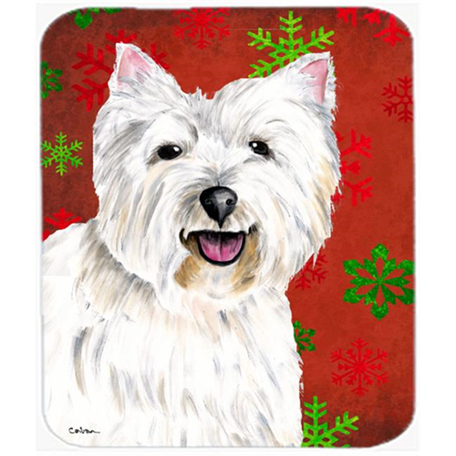 Carolines Treasures SC9410MP Westie Red And Green Snowflakes Holiday Christmas Mouse Pad Hot Pad Or Trivet