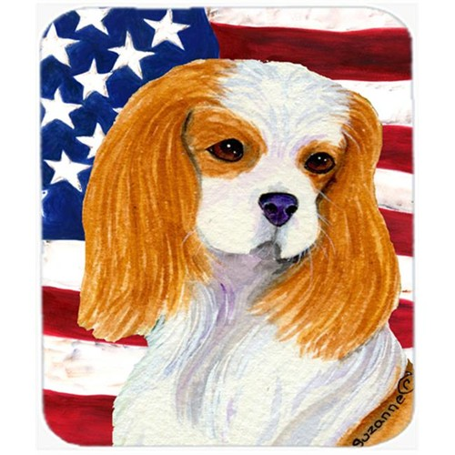 Carolines Treasures SS4012MP Usa American Flag With Cavalier Spaniel Mouse Pad Hot Pad Or Trivet