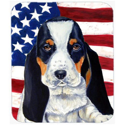 Carolines Treasures LH9015MP Usa American Flag With Basset Hound Mouse Pad Hot Pad Or Trivet