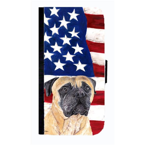 Carolines Treasures SC9031NBIP4 USA American Flag With Mastiff Cell Phonebook Case Cover For Iphone 4 Or 4S