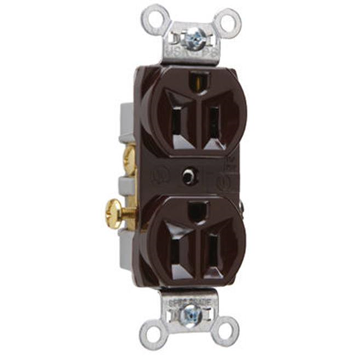 Pass & Seymour CR15CC Heavy Duty Duplex Outlet 15A Brown