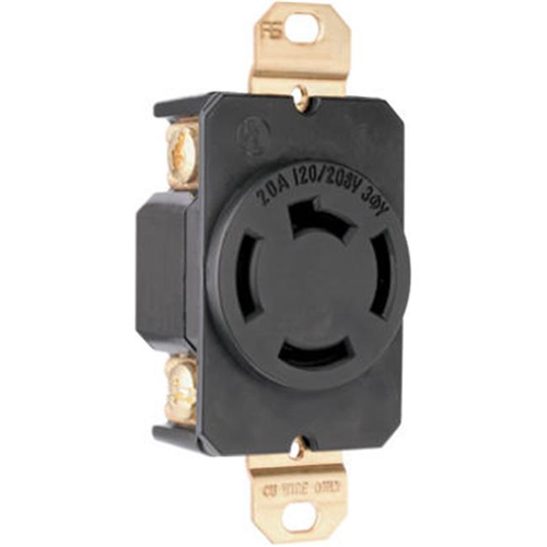 Pass & Seymour 7410 Locking Outlet 20A 208V Black