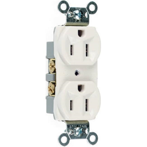 Pass & Seymour CR15WCC12 15A 125V 2 Pole Heavy Duty Duplex Outlet - White
