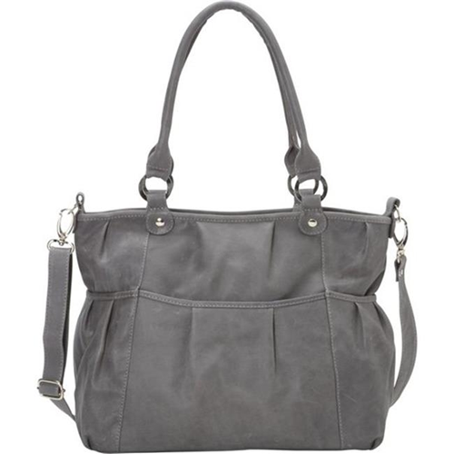 Piel Leather 3087 - CHAR Zippered Cross - Body Tote - Charcoal