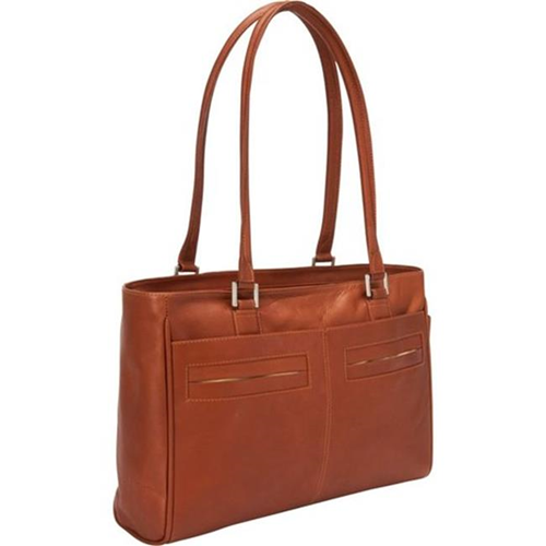 Piel Leather 3001 Ladies Laptop Tote With Pockets - Saddle