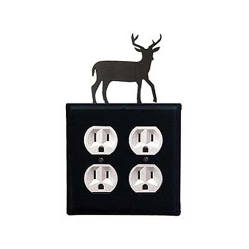 Village Wrought Iron EOO-3 Deer Double Outlet Cover - Black