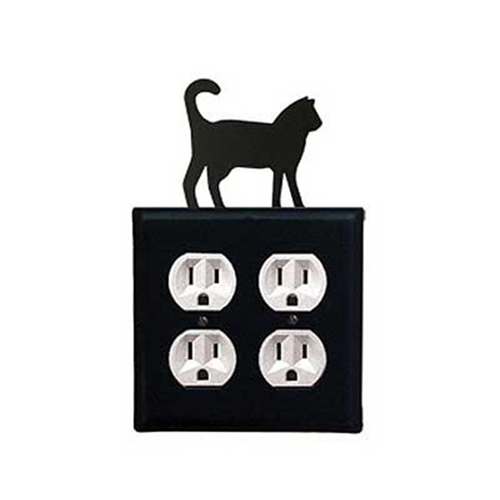 Village Wrought Iron EOO-6 Cat Double Outlet Cover - Black