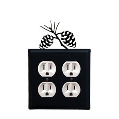Village Wrought Iron EOO-89 Pinecone - Double Outlet Electric Cover