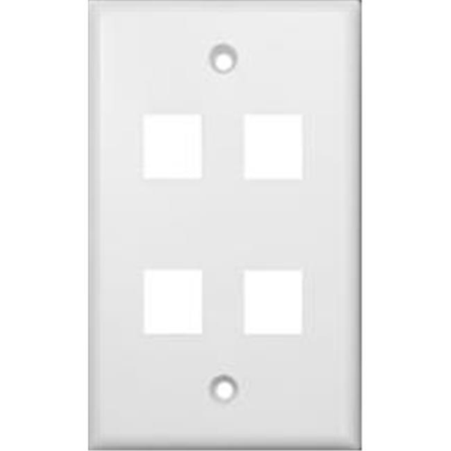 Morris Products 88168 Wallplate For Keystone Jacks And Modular Inserts Four Ports White