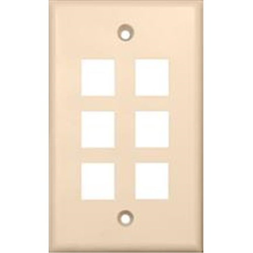 Morris Products 88190 Wallplate For Keystone Jacks And Modular Inserts Six Ports Lt. Almond