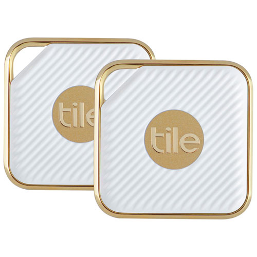 Tile Style Bluetooth Item Tracker - 2 Pack - White/Gold