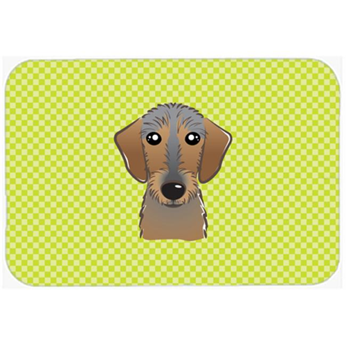 Carolines Treasures BB1295MP Checkerboard Lime Green Wirehaired Dachshund Mouse Pad Hot Pad Or Trivet 7.75 x 9.25 In.