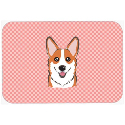 Carolines Treasures BB1254MP Checkerboard Pink Corgi Mouse Pad Hot Pad Or Trivet 7.75 x 9.25 In.