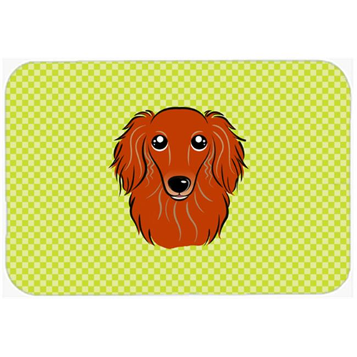 Carolines Treasures BB1276MP Checkerboard Lime Green Longhair Red Dachshund Mouse Pad Hot Pad Or Trivet 7.75 x 9.25 In.