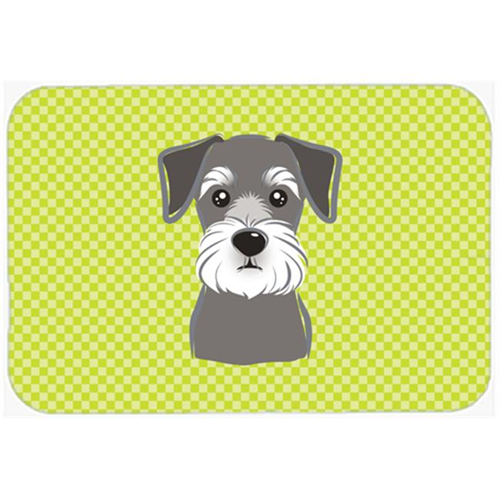 Carolines Treasures BB1268MP Checkerboard Lime Green Schnauzer Mouse Pad Hot Pad Or Trivet 7.75 x 9.25 In.