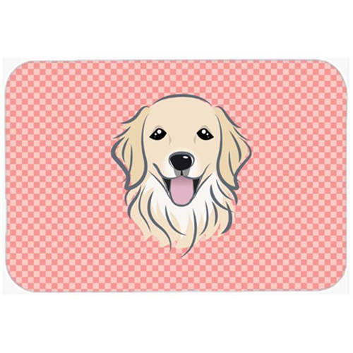 Carolines Treasures BB1205MP Checkerboard Pink Golden Retriever Mouse Pad Hot Pad Or Trivet 7.75 x 9.25 In.
