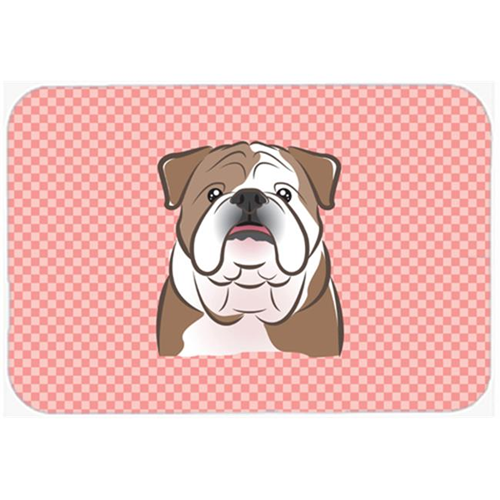 Carolines Treasures BB1219MP Checkerboard Pink English Bulldog Mouse Pad Hot Pad Or Trivet 7.75 x 9.25 In.