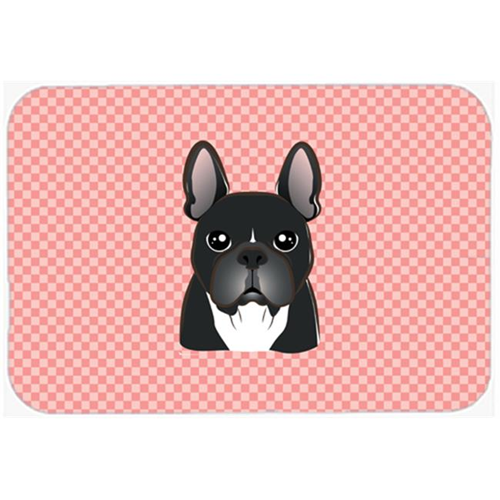 Carolines Treasures BB1227MP Checkerboard Pink French Bulldog Mouse Pad Hot Pad Or Trivet 7.75 x 9.25 In.