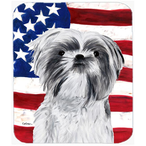 Carolines Treasures SC9015MP Usa American Flag With Shih Tzu Mouse Pad Hot Pad Or Trivet