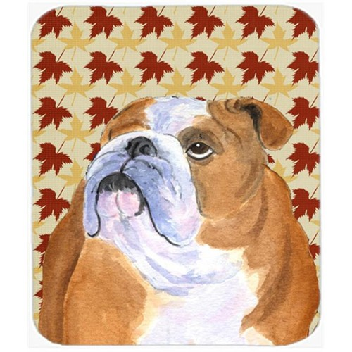 Carolines Treasures SS4365MP Bulldog English Fall Leaves Portrait Mouse Pad Hot Pad Or Trivet