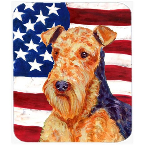 Carolines Treasures LH9005MP 9.5 x 8 in. USA American Flag with Airedale Mouse Pad Hot Pad or Trivet