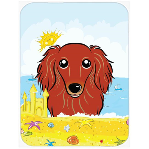 Carolines Treasures BB2082MP Longhair Red Dachshund Summer Beach Mouse Pad Hot Pad or Trivet