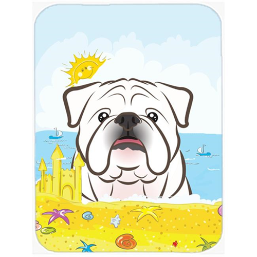 Carolines Treasures BB2088MP White English Bulldog Summer Beach Mouse Pad Hot Pad or Trivet