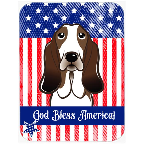 Carolines Treasures BB2173MP God Bless American Flag with Basset Hound Mouse Pad Hot Pad or Trivet