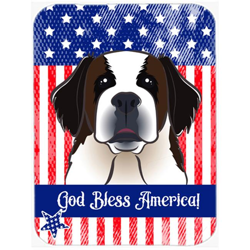 Carolines Treasures BB2176MP God Bless American Flag with Saint Bernard Mouse Pad Hot Pad or Trivet