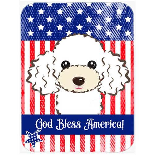 Carolines Treasures BB2187MP God Bless American Flag with White Poodle Mouse Pad Hot Pad or Trivet