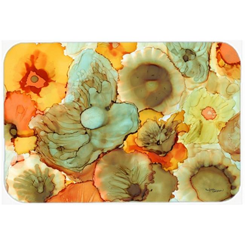 Carolines Treasures 8969MP Abstract Flowers Teal & Orange Mouse Pad Hot Pad or Trivet