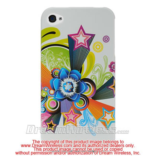 DreamWireless IP-CAIP4WTFLST iPhone 4S & iPhone 4 Compatible Hd Crystal Case - White Flower & Star