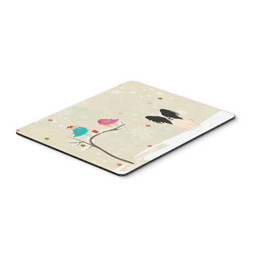 Carolines Treasures BB2548MP Christmas Presents Between Friends Papillon Black & White Mouse Pad Hot Pad or Trivet