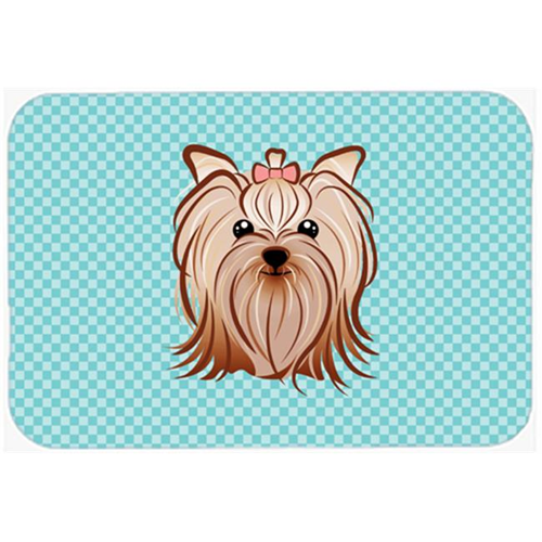 Carolines Treasures BB1142MP Checkerboard Blue Yorkie Yorkishire Terrier Mouse Pad Hot Pad Or Trivet 7.75 x 9.25 In.
