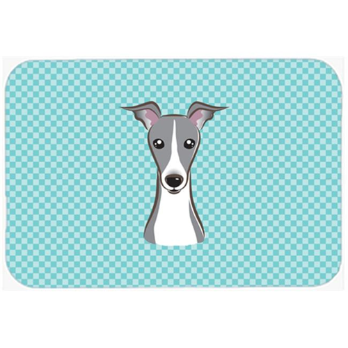 Carolines Treasures BB1174MP Checkerboard Blue Italian Greyhound Mouse Pad Hot Pad Or Trivet 7.75 x 9.25 In.