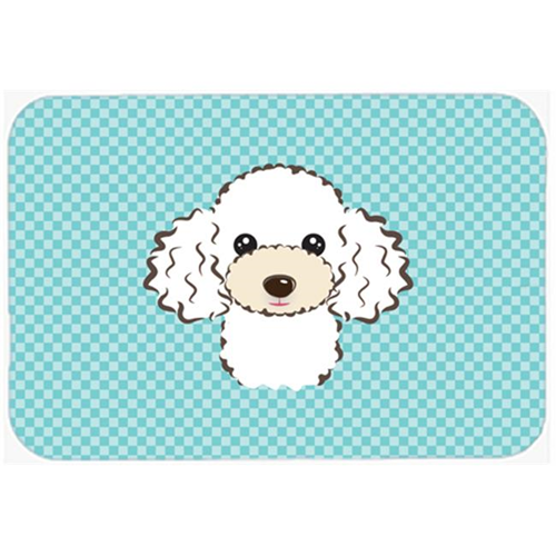 Carolines Treasures BB1195MP Checkerboard Blue White Poodle Mouse Pad Hot Pad Or Trivet 7.75 x 9.25 In.