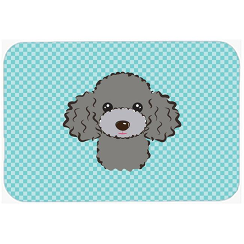 Carolines Treasures BB1197MP Checkerboard Blue Silver Gray Poodle Mouse Pad Hot Pad Or Trivet 7.75 x 9.25 In.