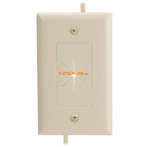 Cmple 1233-N Cable Plate with Flexible Opening 1 Gang - Ivory