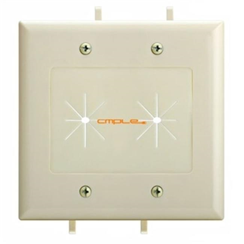 Cmple 1237-N Cable Plate with Flexible Opening 2 Gang - Lite Almond