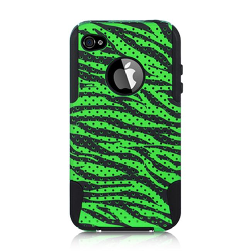 DreamWireless IP-SCRIP4VZBK-GRZA Apple iPhone 4S & 4 Compatible Hybrid Case - Zebra Black & Green